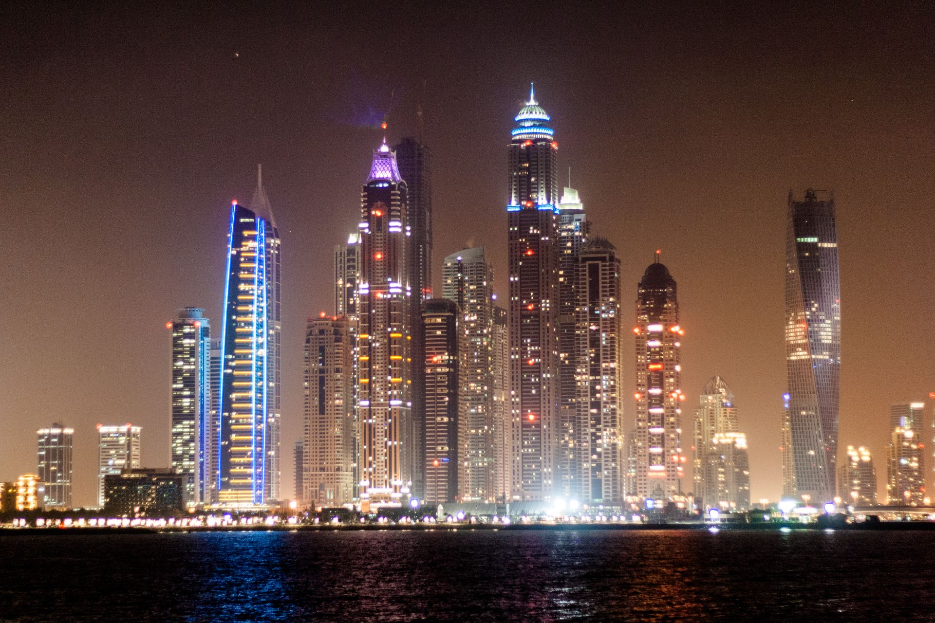 Dubai Marina at Night #UAE #Dubai #Emirates #Tower #Marina #Night #Lights