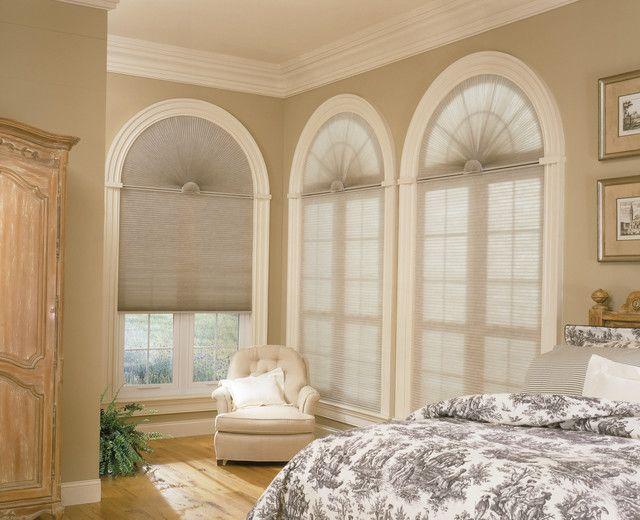 Arch shades for half moon windows - contemporary - bedroom ...