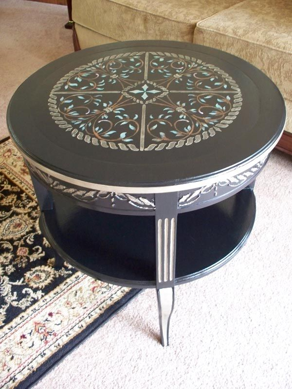 Use paint & stencils to transform a discarded table into a keeper.