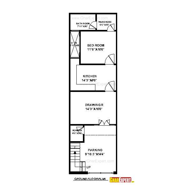 Awesome Home Design 15 X 50 Part - 6: House Plan For 15 Feet By 50 Feet Plot (Plot Size 83 Square Yards)