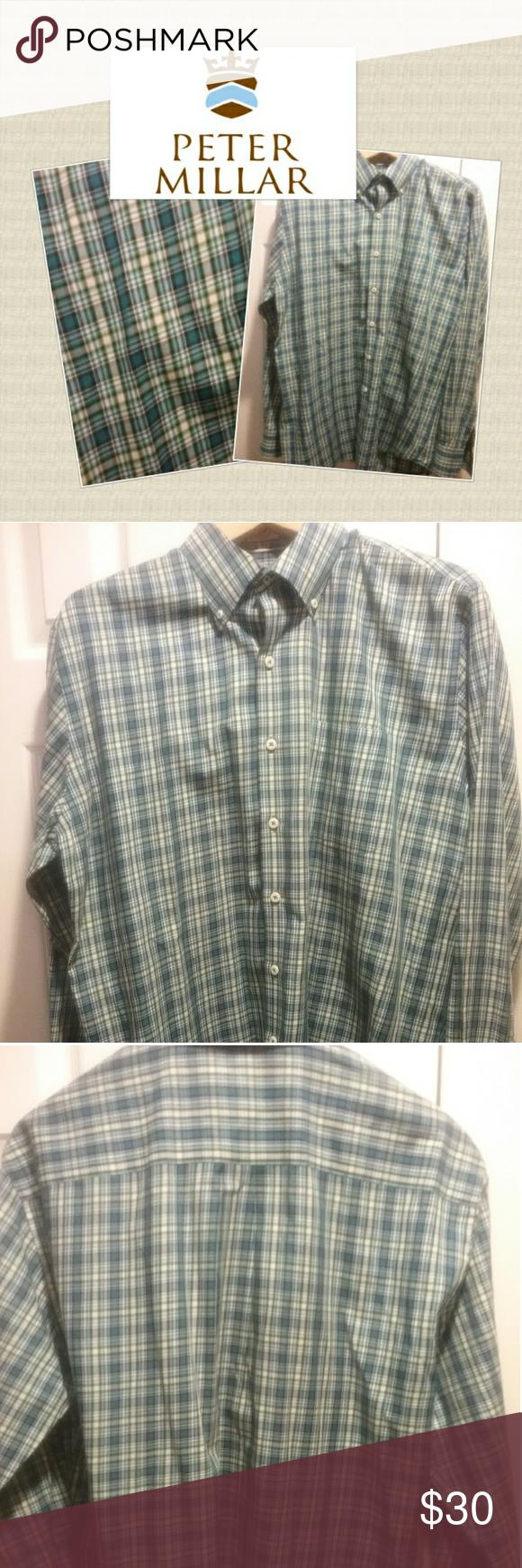 Green checkered dress shirt  Peter Millar Long Sleeve Casual Dress Shirt Luxurious Peter Millar