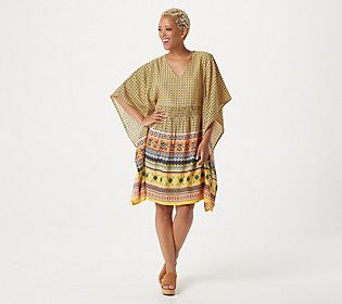 Take the plunge into something stylish -- like this kaftan tunic dress. The lightweight design makes a beautiful coverup or easy summer staple. From the Tolani Collection.