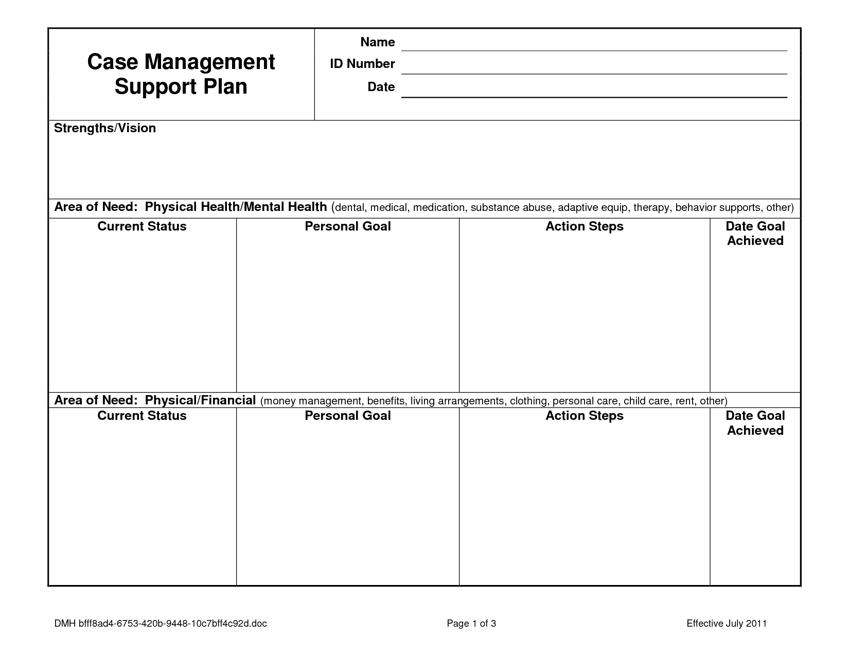 Case Notes Template  Case Management Service Plan  Case Notes