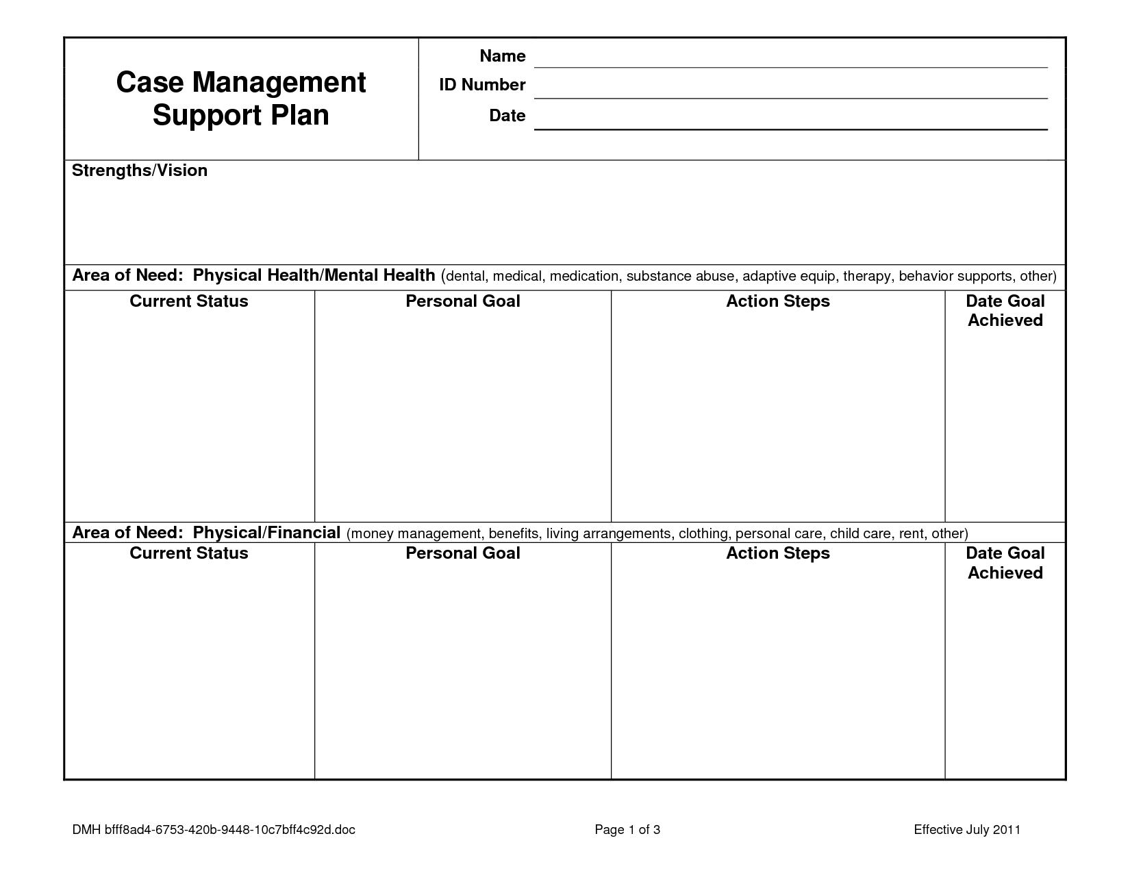 Case Notes Template Case Management Service Plan Case