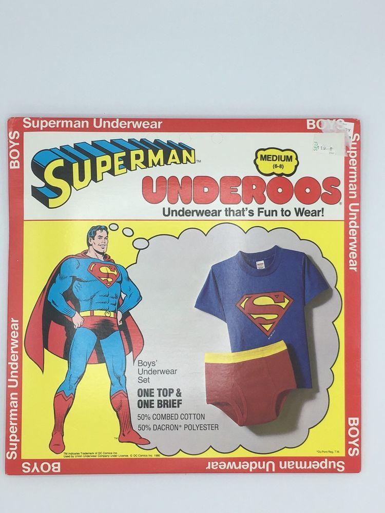 7d4288f41a1 Details about Superman Underoos Vintage 1980 New Boys Medium 6-8 DC ...