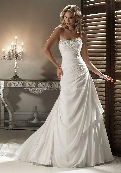 Beading & Ruching Strapless Asymmetric Waist Chiffon Sleeveless Wedding Dress