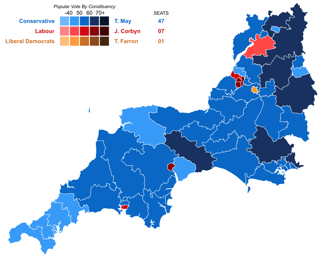 Map Of Uk General Election Results.United Kingdom General Election 2017 Results Map South West England