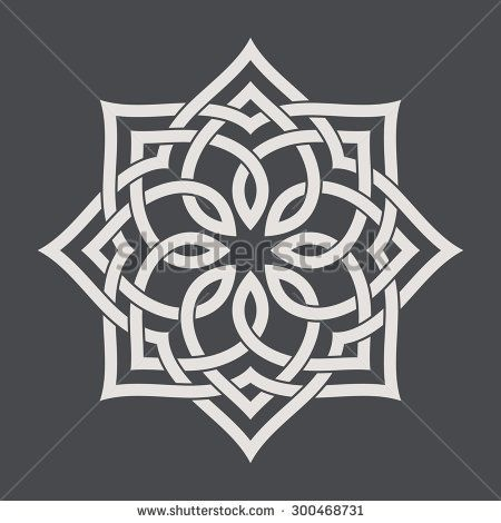 Circular pattern in arabesque style. Eight pointed star on ...