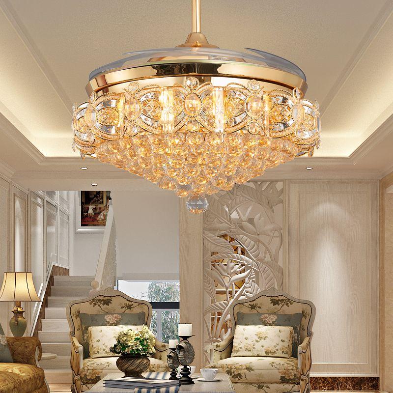 52inch Led Crystal Chandelier Fan Lights Living Room Modern Fan With Remote Control Ventilateur Plafo Ceiling Fan Chandelier Ceiling Fan Crystal Chandelier Fan