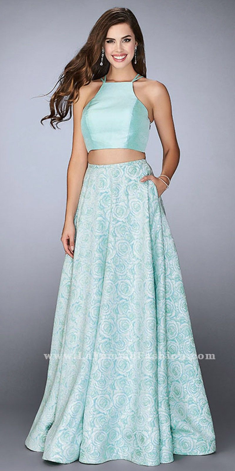 Jacquard Floral Print Two Piece Strappy Open Back Prom Dress by La ...