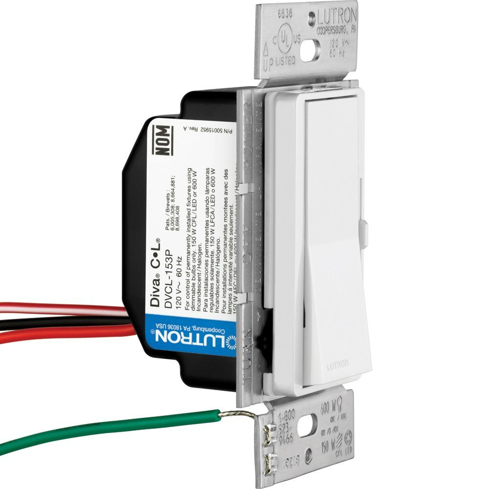 Lutron Diva Cl Dimmer For Dimmable Led Halogen And Incandescent 3 Way Install Bulbs Singlepole Or 3way Dvcl153pwh White