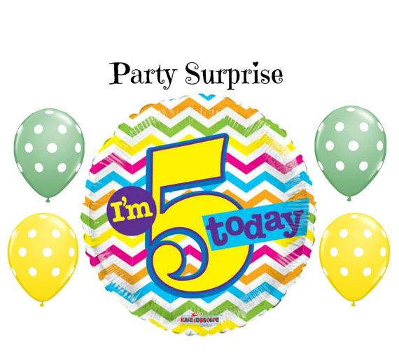 5 Year Old Birthday Balloons 5th Party By PartySurprise