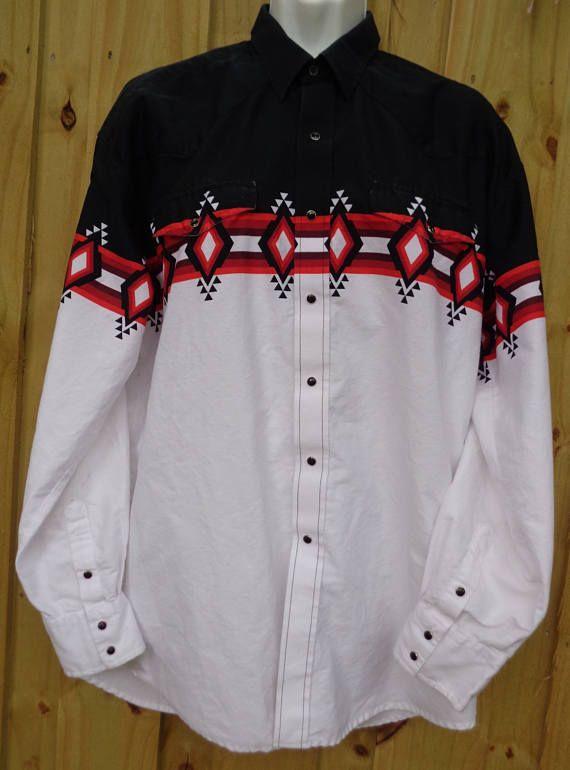 7e20c307 Vintage Roper Men's Western Rockabilly Shirt - Sz. XL - Tribal Design -  Snap Buttons - Western Wear - Cowboy - Grunge - Punk - Father's Day