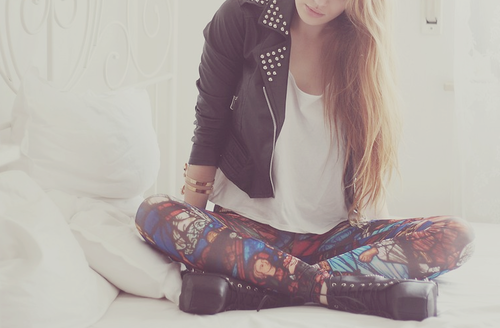 Leather jacket & tights