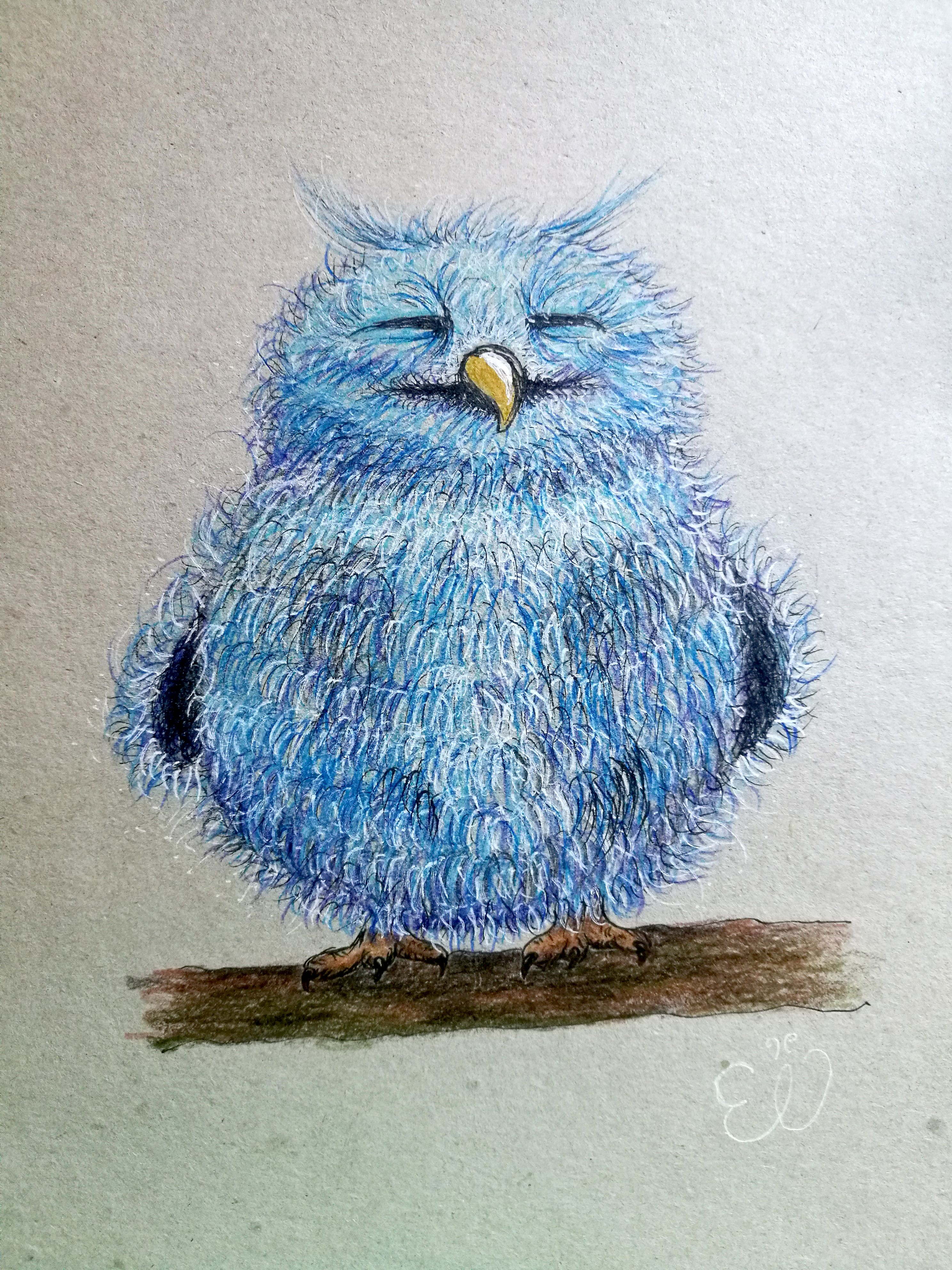 How to draw A CUTE FLUFFY OWL   youtube BlueBirdArtChallenge ...