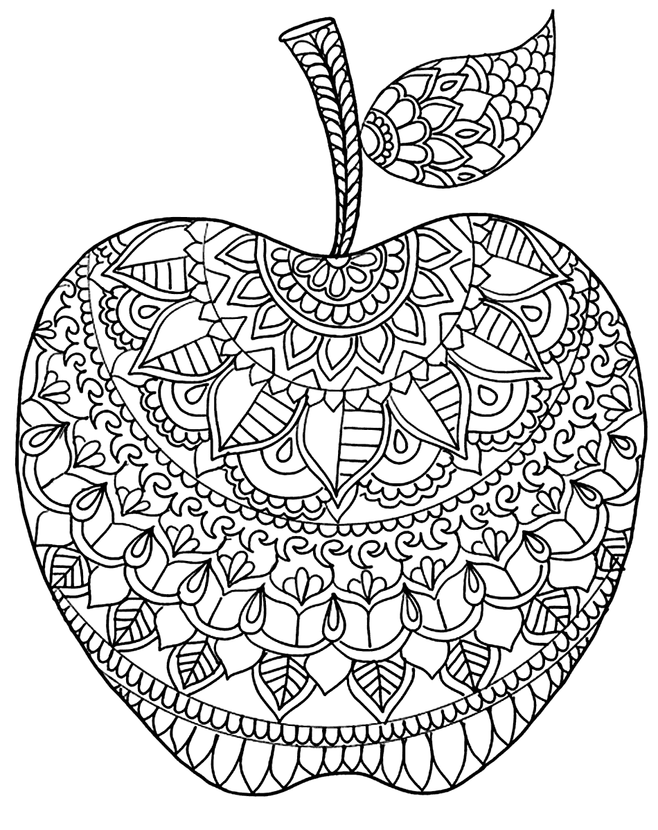 Zen Apple Coloring Pages For Adults Apple Coloring Pages Mandala Coloring Pages Coloring Pages [ 1197 x 950 Pixel ]