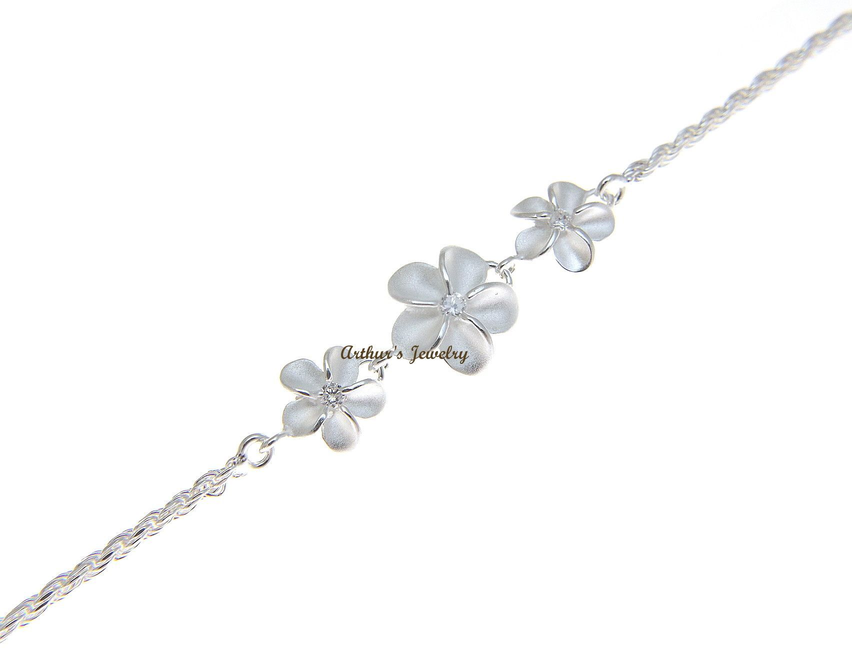 plumeria hawaii blue with cz anklet in sparkle