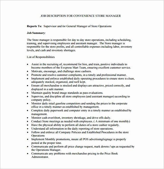 Store Manager Job Description Resume Luxury Job