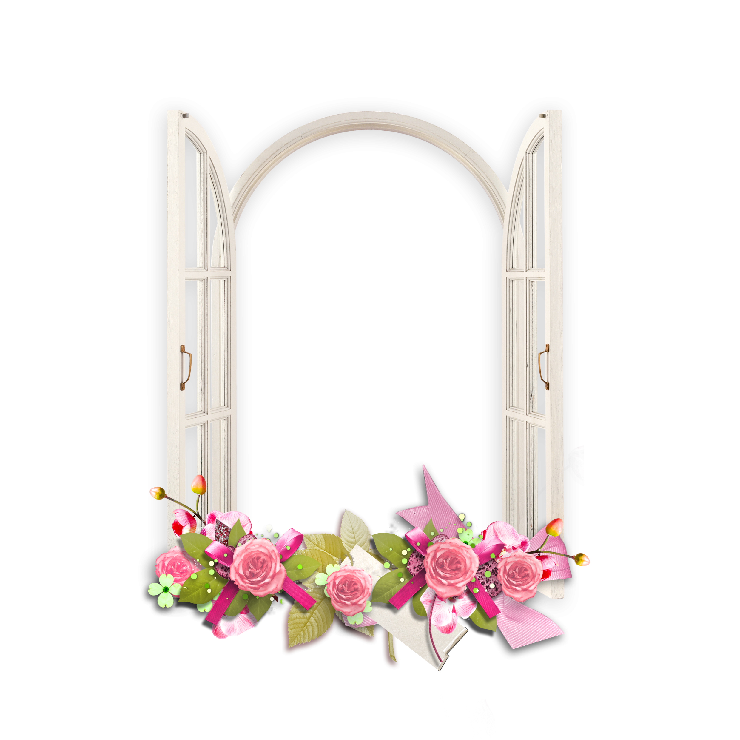 window with pink flowers transparent frame