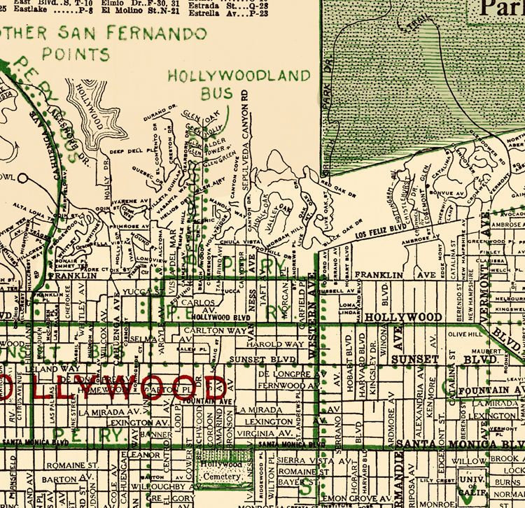 1928 Hollwood Places of Interest Historic Old Map 24x30