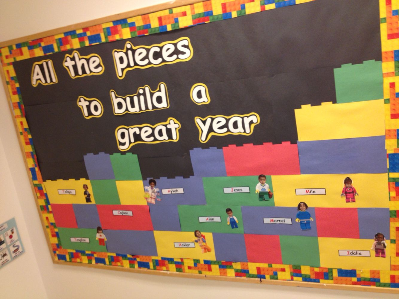 Lego back to school bulletin board bulletin boards for Back to school board decoration