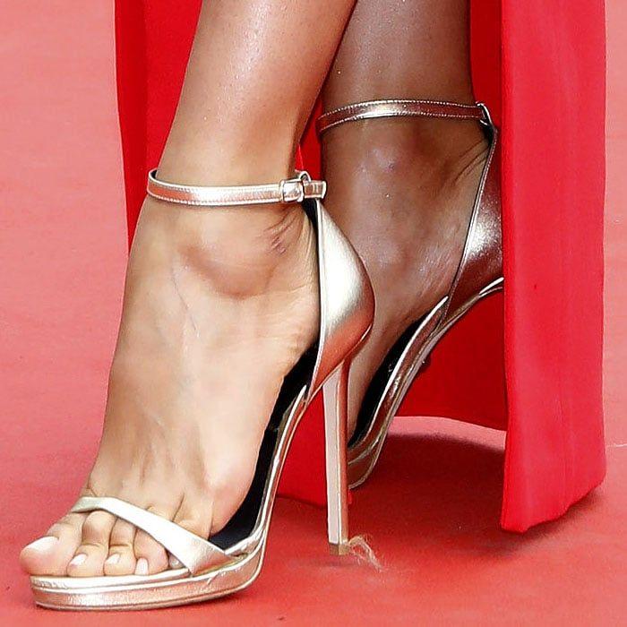 Irina Shayk feet in Versace gold ankle-strap sandals