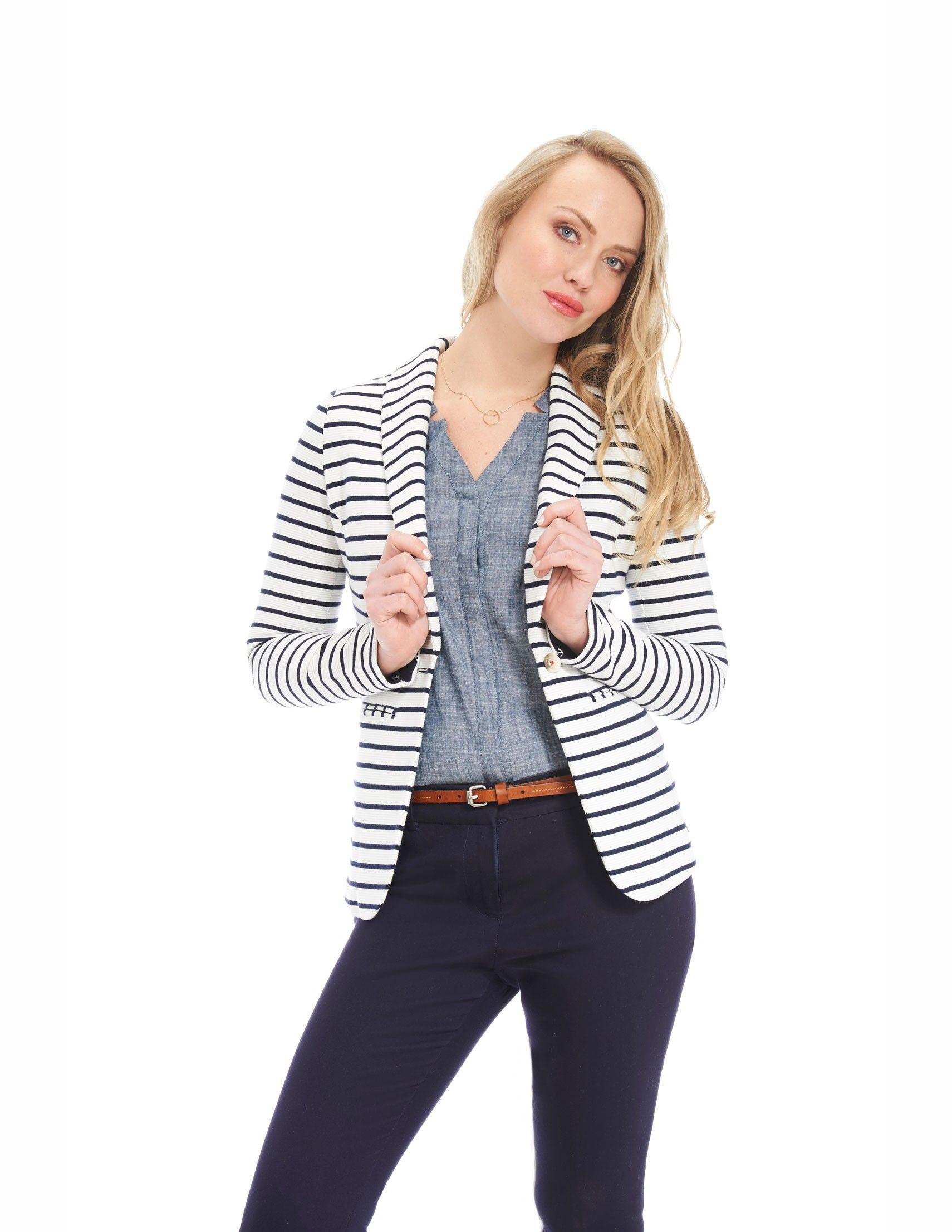 Blazer à manches à revers contrastant – Rayures bleu marine et blanches