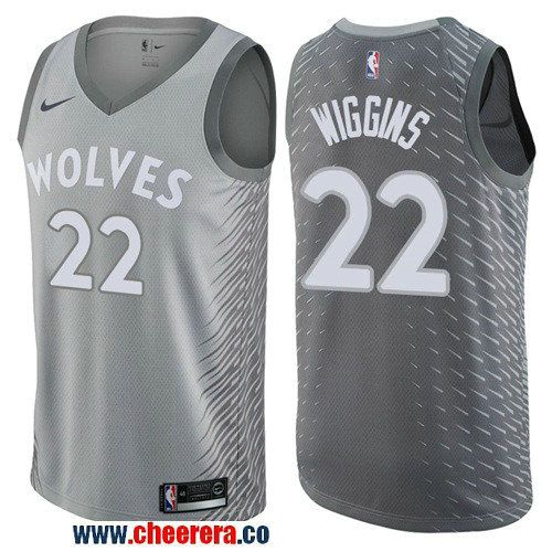 cdfe062b0 Men s Nike Minnesota Timberwolves  22 Andrew Wiggins Gray NBA Swingman City  Edition Jersey