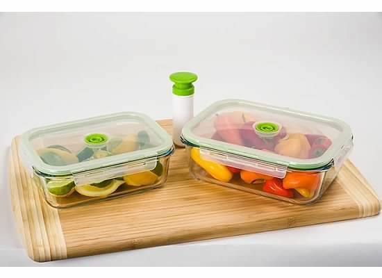 5-pc Glass Vacuum Glass Food Storage Containers Rectangle. Contains 2 Glass re-usable vacuum seal food containers (1) 35oz/ 1040mL (1) 52oz/ 1520mL ... & 5-pc Glass Vacuum Glass Food Storage Containers Rectangle. Contains ...