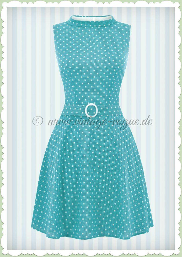 Bright & Beautiful 60er Jahre Retro Punkte Kleid - Ruth - Blau Weiß