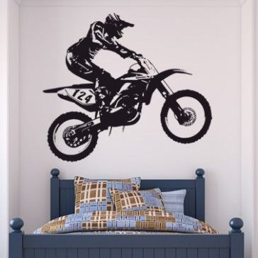 Dirt Bike Trick Motocross Motorbike Wall Sticker Dirt Bike Bedroom Bike Room Dirt Bike Room