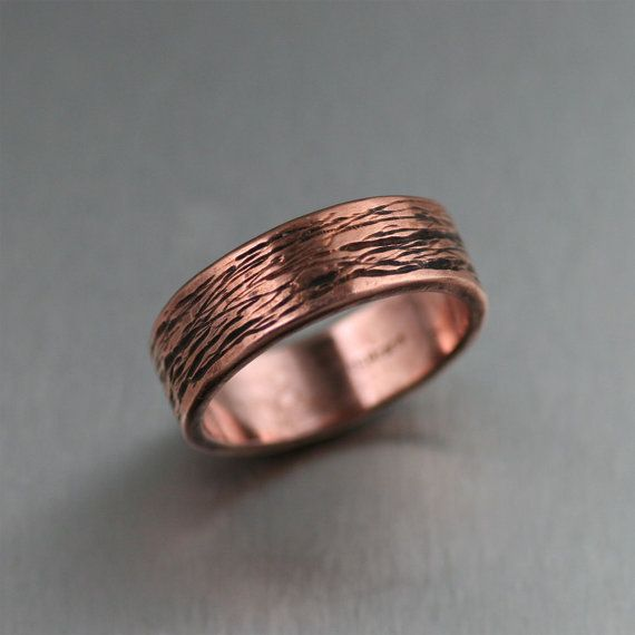 7mm Bark Mens Copper Ring Copper Wedding Bands Mens Copper Rings