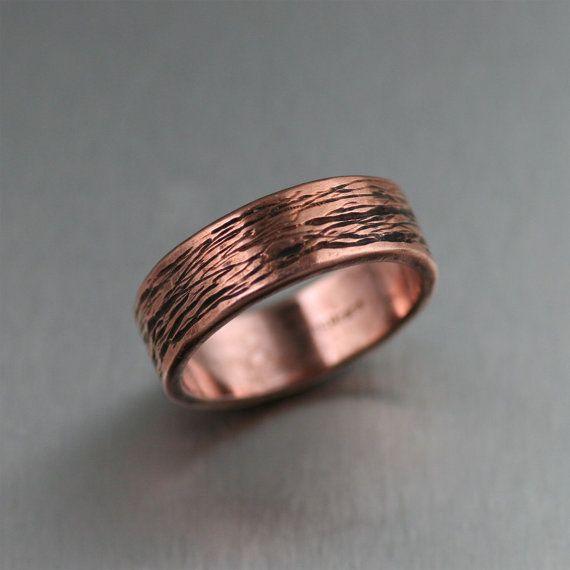 7mm Bark Mens Copper Ring Copper Wedding Bands Mens Copper Rings Bark Copper Ring Copper Engagem Copper Wedding Band Copper Engagement Rings Copper Wedding