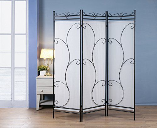 3 Panel Room Divider Privacy Screen Home Office Fabric Black Metal Frame  Scroll Design