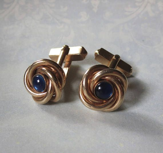 Vintage Lover's Knot Swank Cufflinks with Blue Sapphire