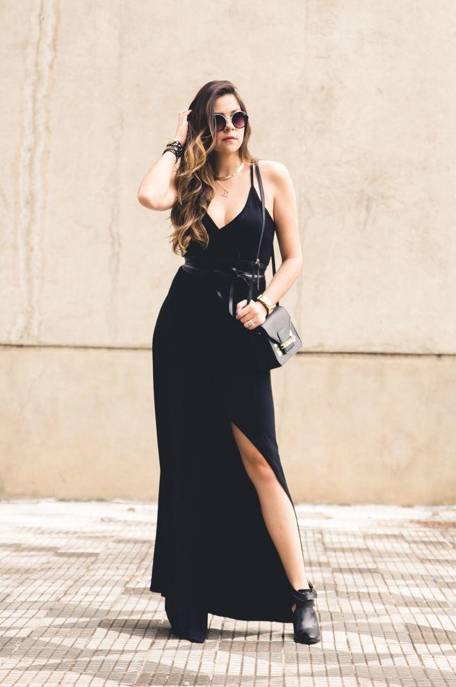 44081a23b1 vestido com fenda longo preto a colorida ankle boots stephanie classic
