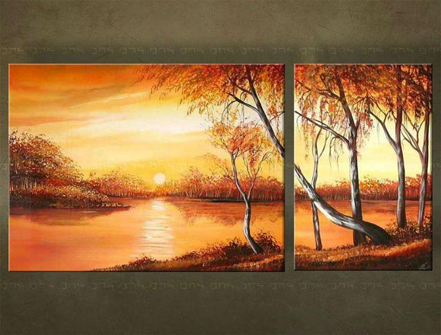 Ručne maľovaný obraz KRAJINA 2 dielny 2978FA