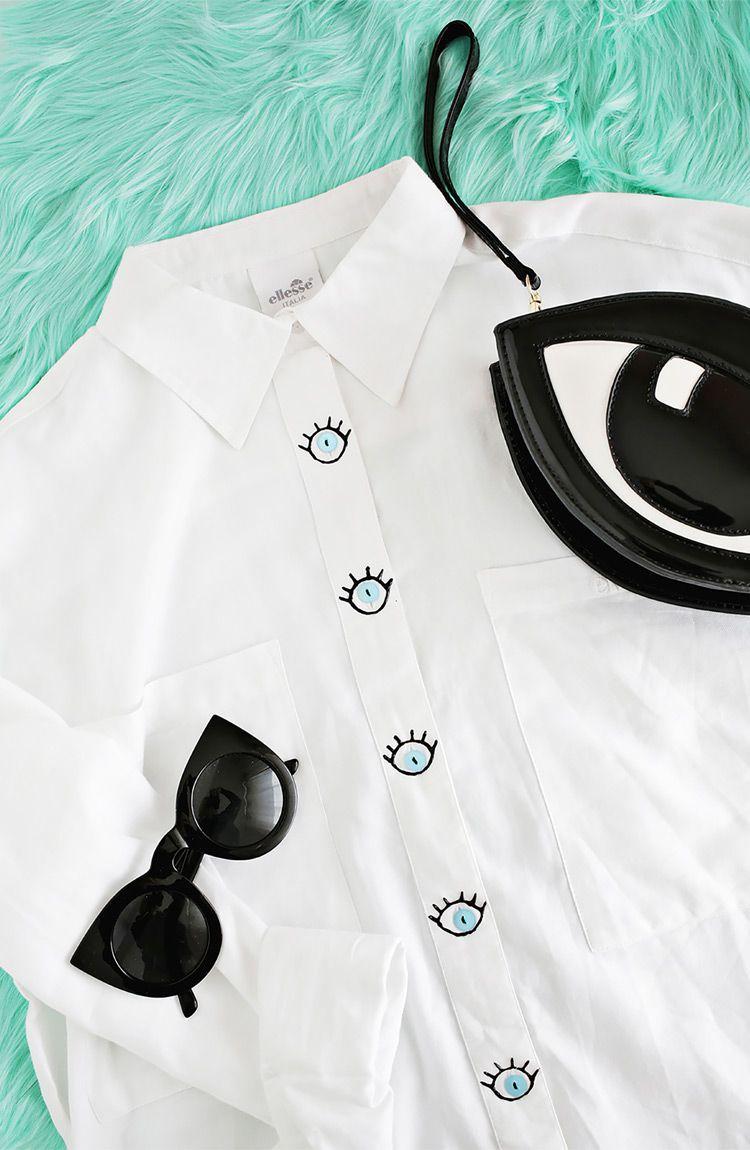 Camisa con botones de ojos | TUNEAR ROPA | Pinterest | Botones ...