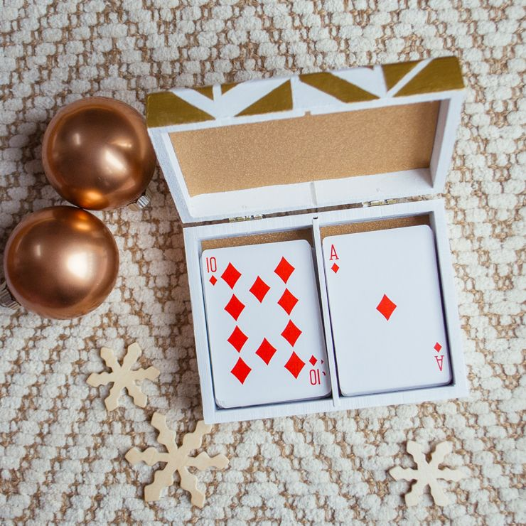 Gold And White Painted Wooden Card Box Diy Diy Card Box Playing Card Box Wooden Cards