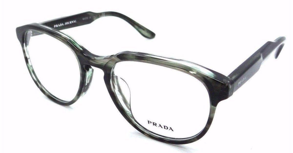 ff63d41572c95 Prada Rx Eyeglasses Frames Vpr 18S-F UEP-1o1 53x19 Striped Green Grey Asian  Fit