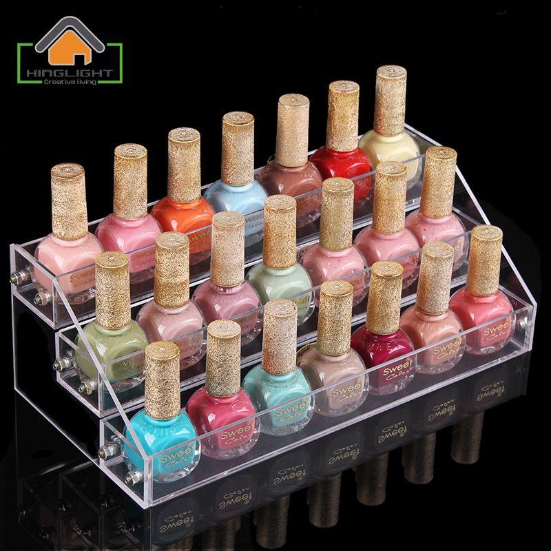 3 Layers Acrylic Nail Polish Display Stand Shelf Rack Makeup ...