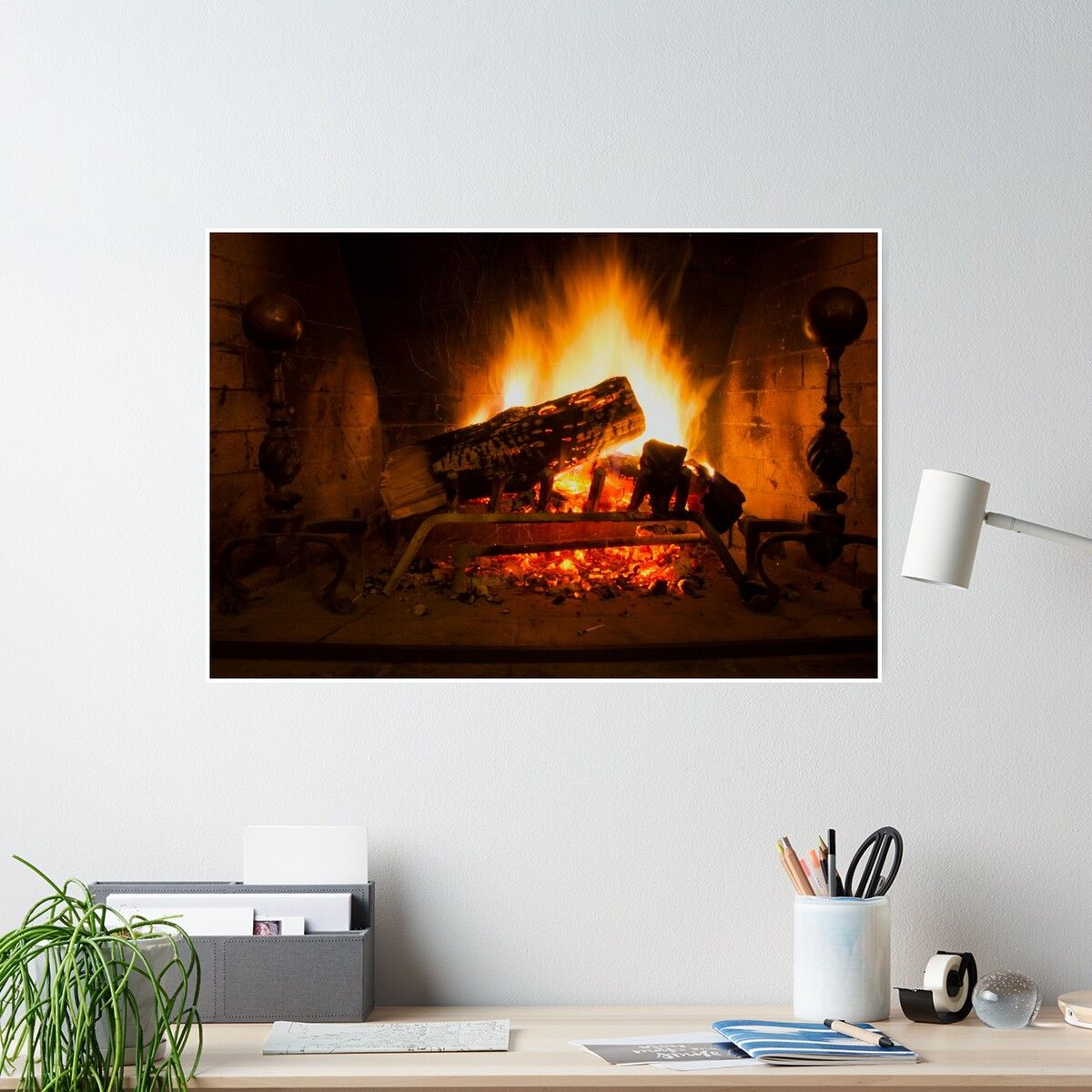 Fireplace Poster By Michael Riccardo Poster Framed Prints