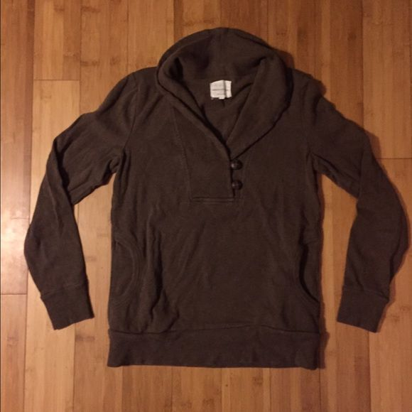 Brown banana republic sweatshirt. Comfy and cute. Good with shorts on spring or fall night. Cowl neck with buttons. Pockets. Perfect condition. Banana Republic Tops