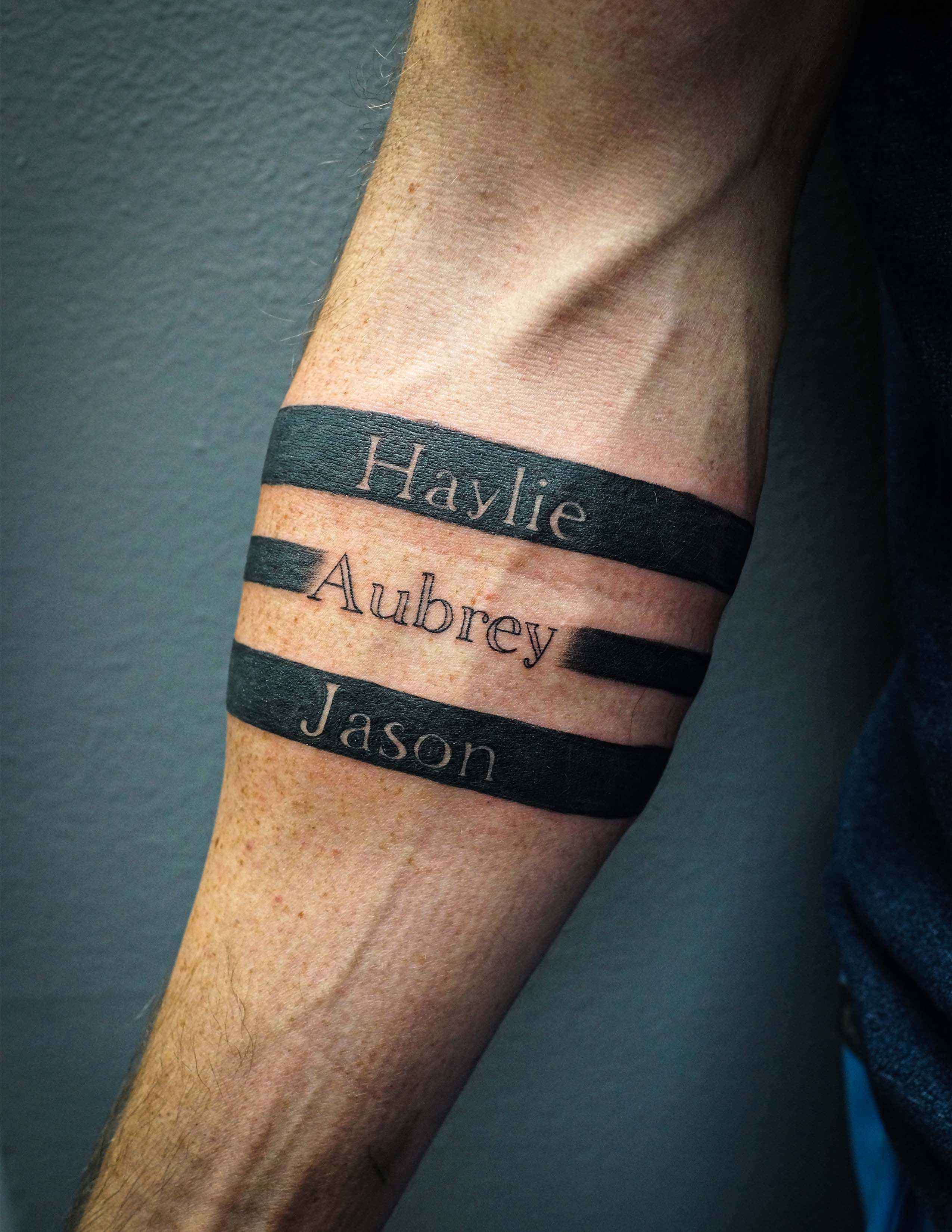 Armband Tattoo With Kids Names Tattoos With Kids Names Arm Band Tattoo Forearm Band Tattoos