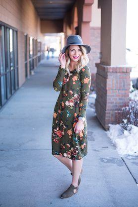 Floral Logan Dress- Olive