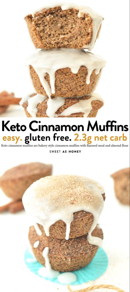 Keto cinnamon muffins the BEST flaxseed muffins - Sweetashoney #flaxseedmealrecipes