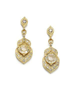 ILA - Dayan White Sapphire, Diamond & 14K Yellow Gold Drop Earrings