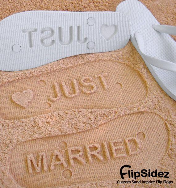 f76982a8a0a80 Just Married Flip Flops - Custom Sand Imprint Sandals for Beach ...
