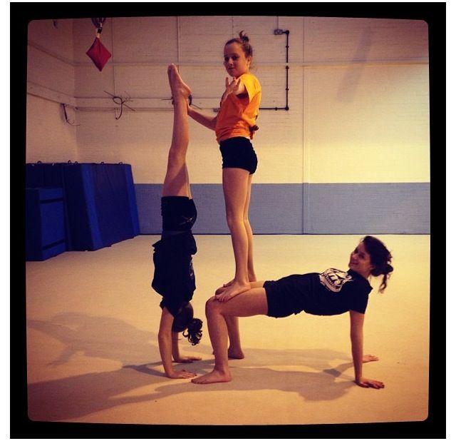 Gymnastics Acro 3 Person Yoga Poses Acro Yoga Poses Yoga Challenge Poses