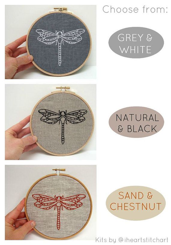Easy Embroidery Kit Dragonfly Embroidery Pattern Modern Embroidery